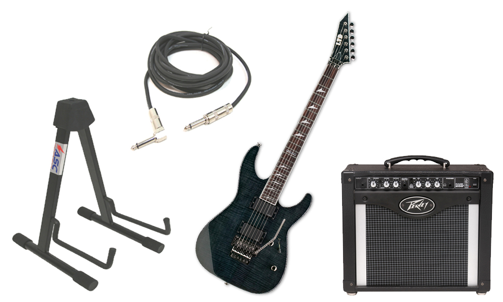 "ESP LTD M Series M-300FM Flamed Maple 6 String Rosewood Fingerboard See Through Black Electric Guitar with Peavey Rage 258 TransTube Amp, 1/4"" Cable & Stand"