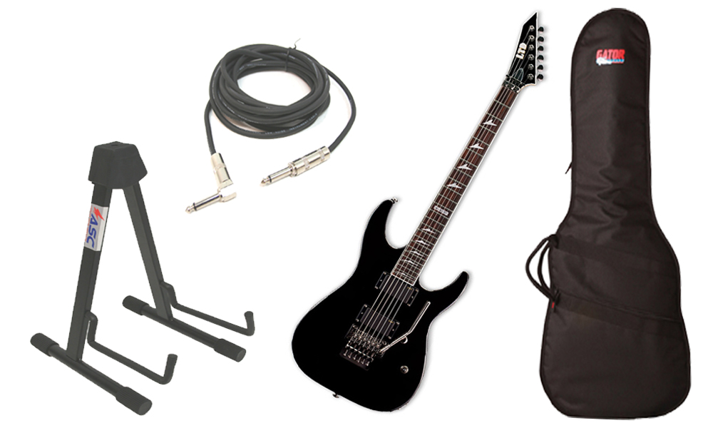 "ESP LTD M Series M-330R Mahogany Body 6 String Rosewood Fingerboard Black Electric Guitar with Travel Gig Bag, Stand & 1/4"" Cable"