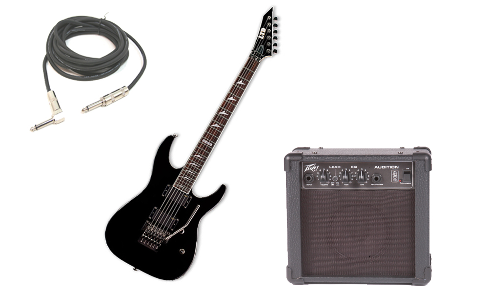 """ESP LTD M Series M-330R Mahogany Body 6 String Rosewood Fingerboard Black Electric Guitar with Peavey Audition Practice Amp & 1/4"""" Cable"""