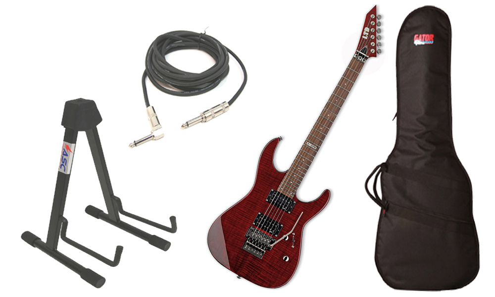 "ESP LTD M Series M-100FM Flamed Maple 6 String Rosewood Fingerboard See Through Black Cherry Electric Guitar with Travel Gig Bag, Stand & 1/4"" Cable"