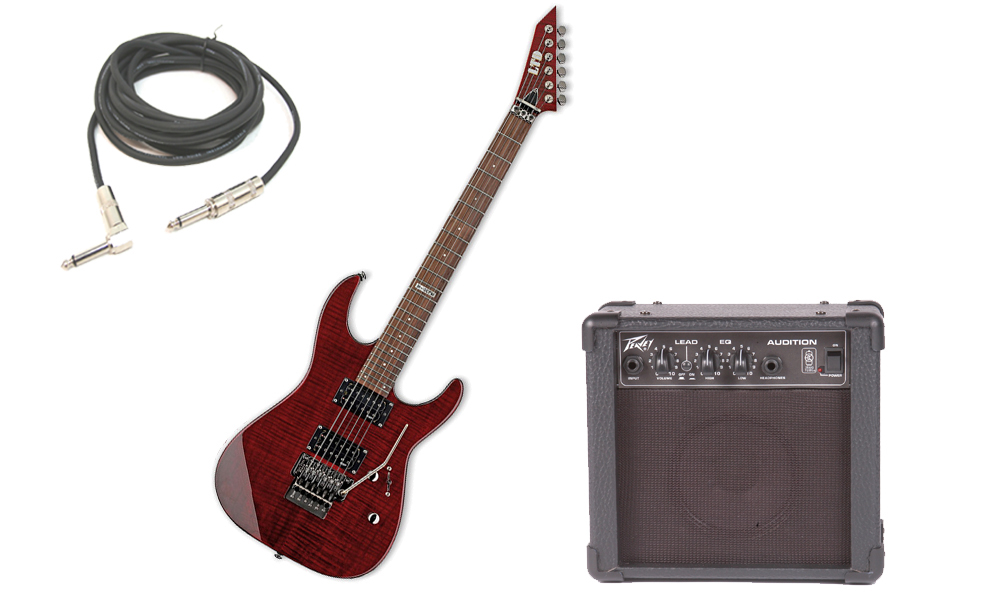 """ESP LTD M Series M-100FM Flamed Maple 6 String Rosewood Fingerboard See Through Black Cherry Electric Guitar with Peavey Audition Practice Amp & 1/4"""" Cable"""