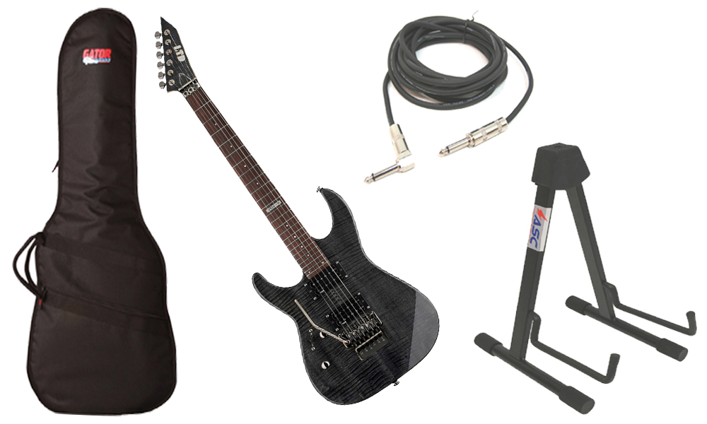 """ESP LTD M Series M-100FM Flamed Maple 6 String Rosewood Fingerboard See Through Black Electric Guitar (Left Hand) with Travel Gig Bag, Stand & 1/4"""" Cable"""
