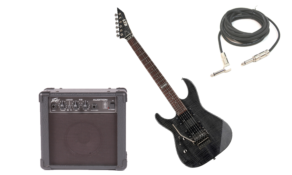 """ESP LTD M Series M-100FM Flamed Maple 6 String Rosewood Fingerboard See Through Black Electric Guitar (Left Hand) with Peavey Audition Practice Amp & 1/4"""" Cable"""