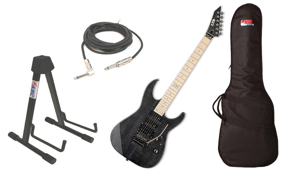 "ESP LTD M Series M-103FM Flamed Maple 6 String Rosewood Fingerboard See Through Black Electric Guitar with Travel Gig Bag, Stand & 1/4"" Cable"