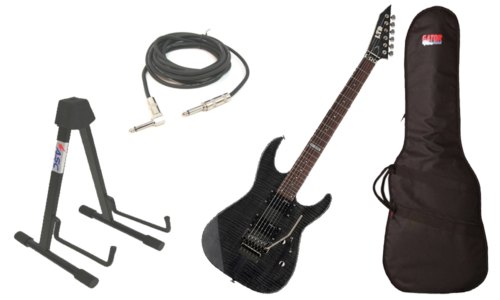 """ESP LTD M Series M-100FM Flamed Maple 6 String Rosewood Fingerboard See Through Black Electric Guitar with Travel Gig Bag, Stand & 1/4"""" Cable"""