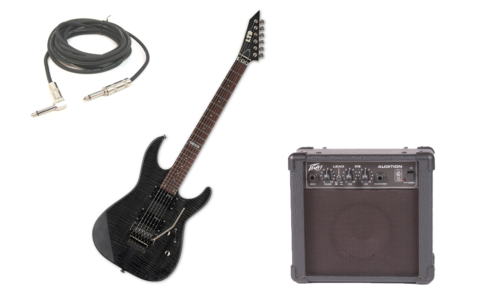 """ESP LTD M Series M-100FM Flamed Maple 6 String Rosewood Fingerboard See Through Black Electric Guitar with Peavey Audition Practice Amp & 1/4"""" Cable"""