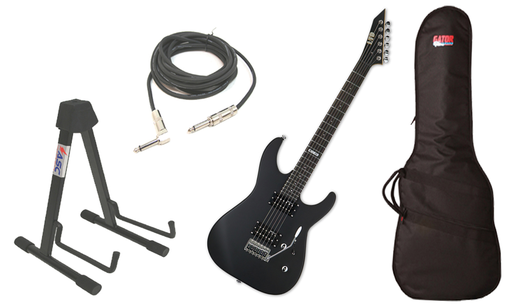 "ESP LTD M Series M-50 Basswood Body 6 String Rosewood Fingerboard Black Satin Electric Guitar with Travel Gig Bag, Stand & 1/4"" Cable"