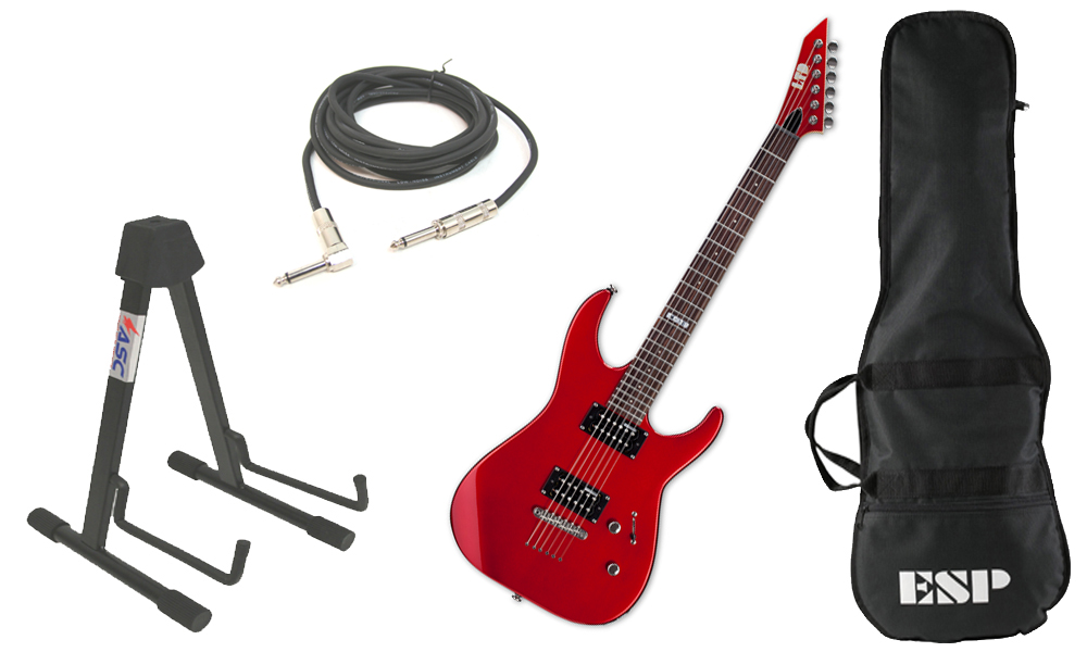 "ESP LTD M Series M-10 Kit Basswood Body 6 String Rosewood Fingerboard Candy Apple Red Electric Guitar with Stand & 1/4"" Cable"