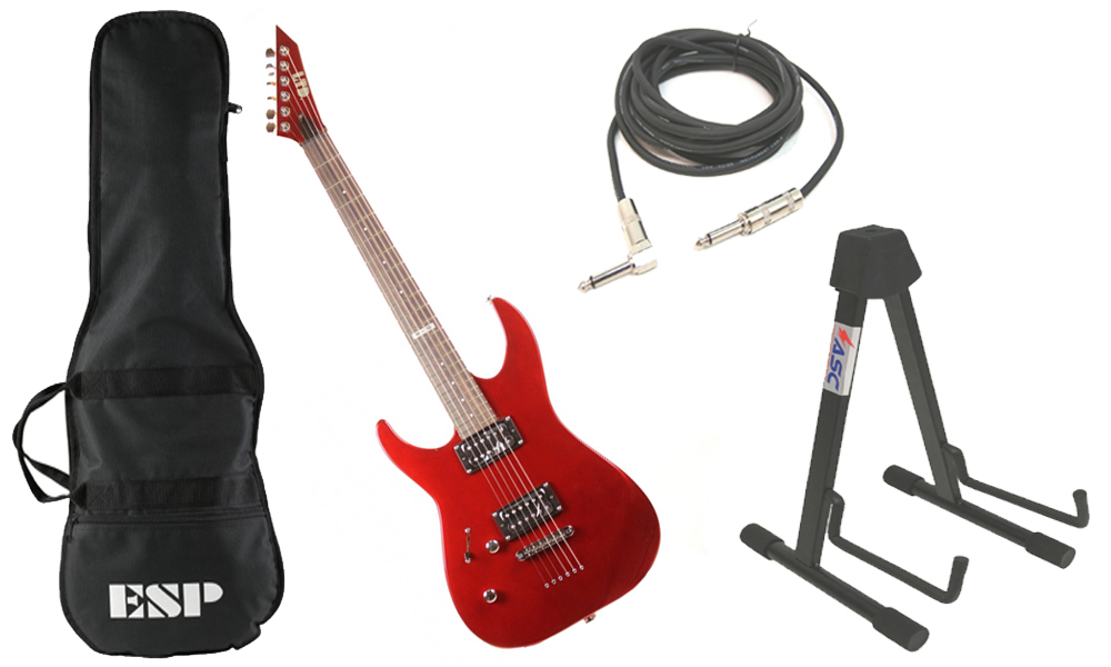 """ESP LTD M Series M-10 Kit Basswood Body 6 String Rosewood Fingerboard Candy Apple Red Electric Guitar (Left Hand) with Stand & 1/4"""" Cable"""