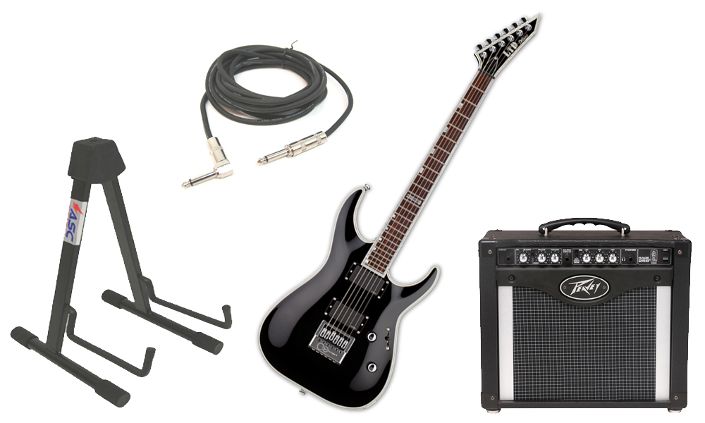 """ESP LTD MH Series MH-1000 Mahogany Body 6 String Rosewood Fingerboard Evertune Bridge Black Electric Guitar with Peavey Rage 258 TransTube Amp, 1/4"""" Cable & Stand"""