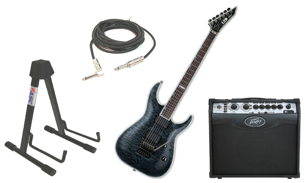 "ESP LTD MH Series MH-1000FR Quilted Maple 6 String Rosewood Fingerboard Floyd Rose Bridge See Through Black Electric Guitar with Peavey VIP 1 Modeling Amp, 1/4"" Cable & Stand"