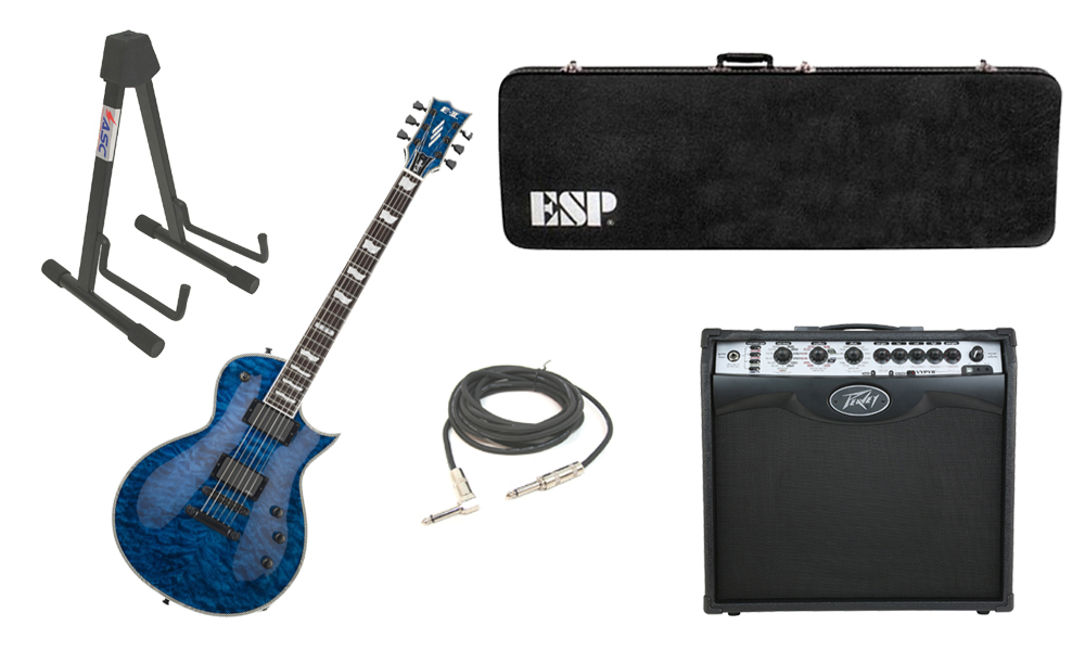 """ESP E-II Eclipse Quilted Maple Top 6 String Marine Blue Electric Guitar with Peavey VIP 2 Modeling Amp, 1/4"""" Cable & Stand"""