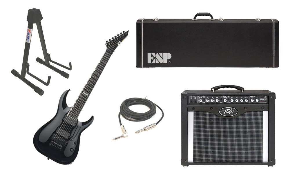 """ESP E-II Horizon FR-7 Maple Top 7 String Black Electric Guitar Electric Guitar with Peavey Envoy 110 Tube Amp, 1/4"""" Cable & Stand"""