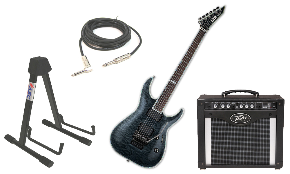 "ESP LTD MH Series MH-1000FR Quilted Maple 6 String Rosewood Fingerboard Floyd Rose Bridge See Through Black Electric Guitar with Peavey Rage 258 TransTube Amp, 1/4"" Cable & Stand"