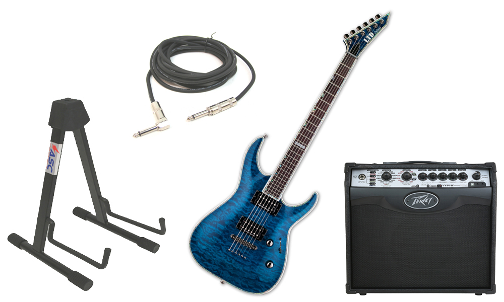 "ESP LTD MH Series MH-1000NT Quilted Maple 6 String Rosewood Fingerboard See Through Blue Electric Guitar with Peavey VIP 1 Modeling Amp, 1/4"" Cable & Stand"