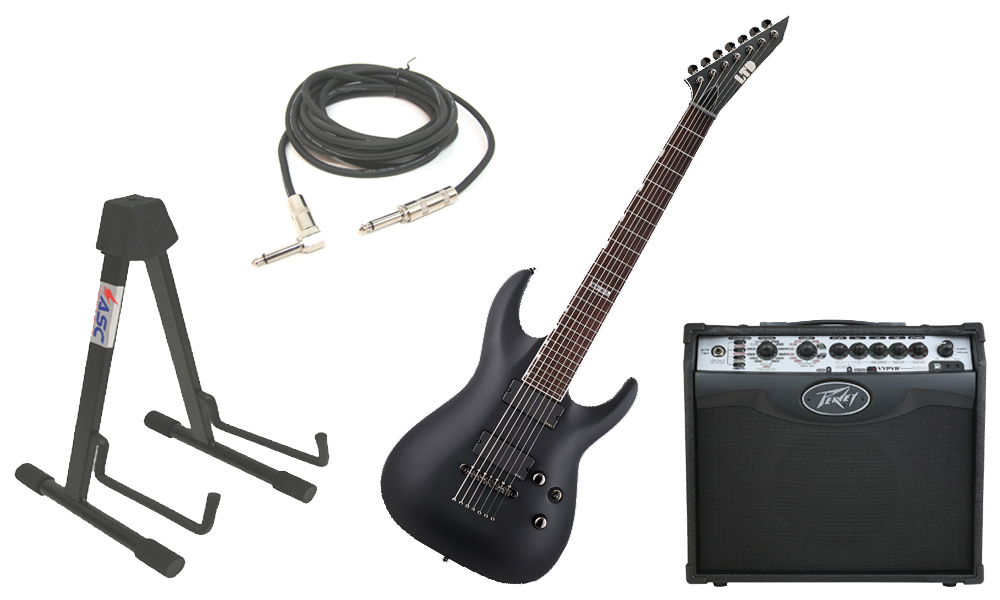 """ESP LTD MH Series MH-417 Mahogany Body 7 String Rosewood Fingerboard Black Satin Electric Guitar with Peavey VIP 1 Modeling Amp, 1/4"""" Cable & Stand"""