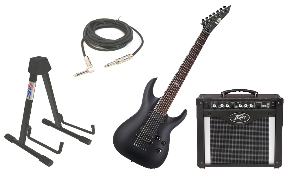 "ESP LTD MH Series MH-417 Mahogany Body 7 String Rosewood Fingerboard Black Satin Electric Guitar with Peavey Rage 258 TransTube Amp, 1/4"" Cable & Stand"