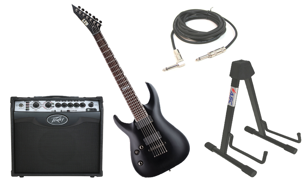 """ESP LTD MH Series MH-417 Mahogany Body 7 String Rosewood Fingerboard Black Satin Electric Guitar (Left Hand) with Peavey VIP 1 Modeling Amp, 1/4"""" Cable & Stand"""