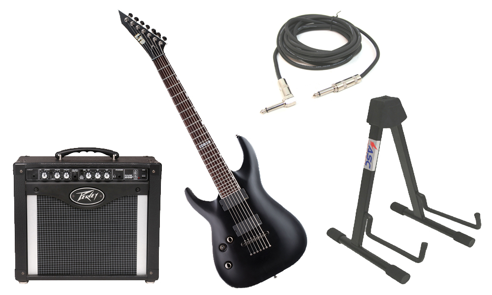 """ESP LTD MH Series MH-417 Mahogany Body 7 String Rosewood Fingerboard Black Satin Electric Guitar (Left Hand) with Peavey Rage 258 TransTube Amp, 1/4"""" Cable & Stand"""