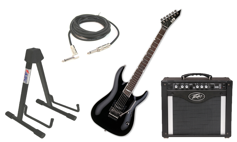 "ESP LTD MH Series MH-327 Mahogany Body 6 String Rosewood Fingerboard Black Electric Guitar with Peavey Rage 258 TransTube Amp, 1/4"" Cable & Stand"