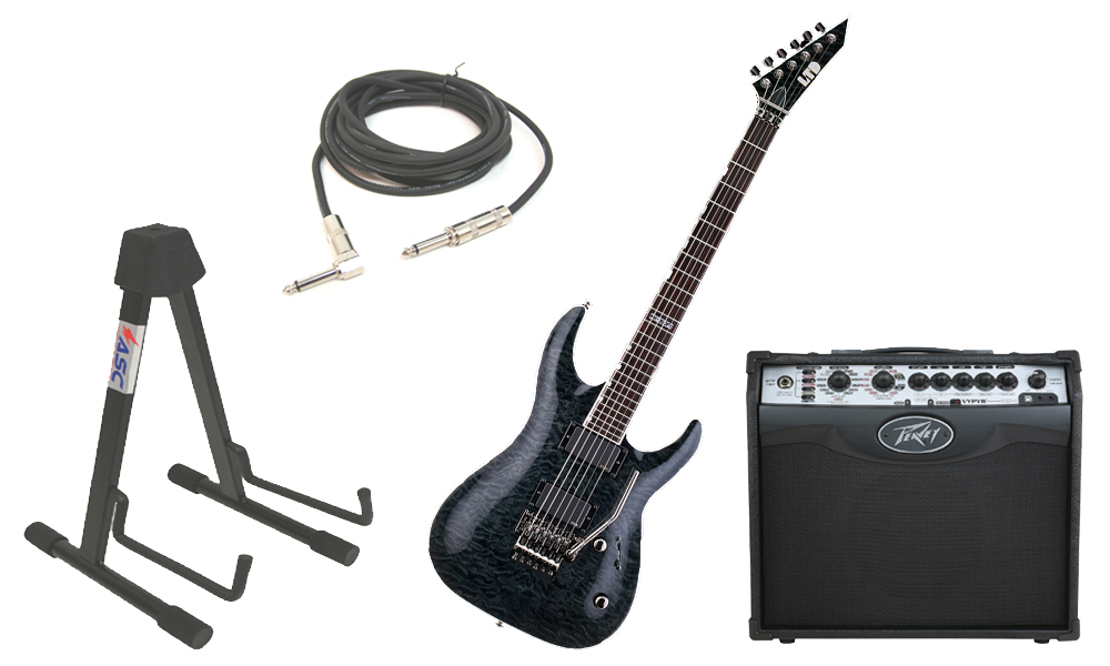 """ESP LTD MH Series MH-350FR Quilted Maple 6 String Floyd Rose Bridge See Through Black Electric Guitar with Peavey VIP 1 Modeling Amp, 1/4"""" Cable & Stand"""