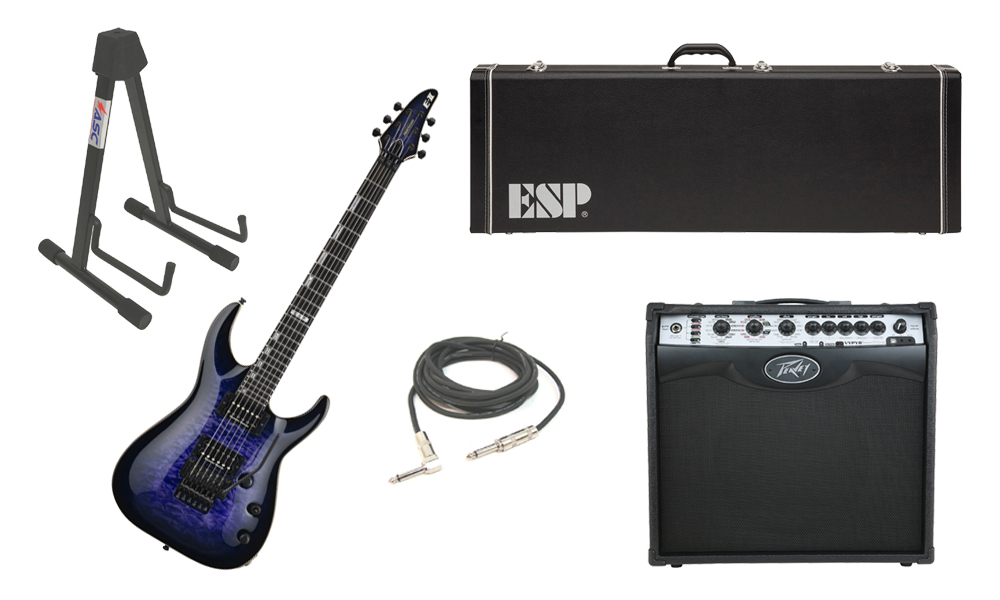 "ESP E-II Horizon Quilted Maple Top 6 String Reindeer Blue Electric Guitar with Peavey VIP 2 Modeling Amp, 1/4"" Cable & Stand"