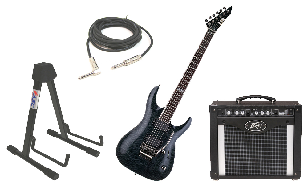 """ESP LTD MH Series MH-350FR Quilted Maple 6 String Floyd Rose Bridge See Through Black Electric Guitar with Peavey Rage 258 TransTube Amp, 1/4"""" Cable & Stand"""