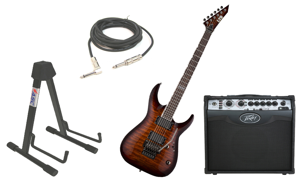 """ESP LTD MH Series MH-350FR Quilted Maple 6 String Floyd Rose Bridge Dark Brown Sunburst Electric Guitar with Peavey VIP 1 Modeling Amp, 1/4"""" Cable & Stand"""