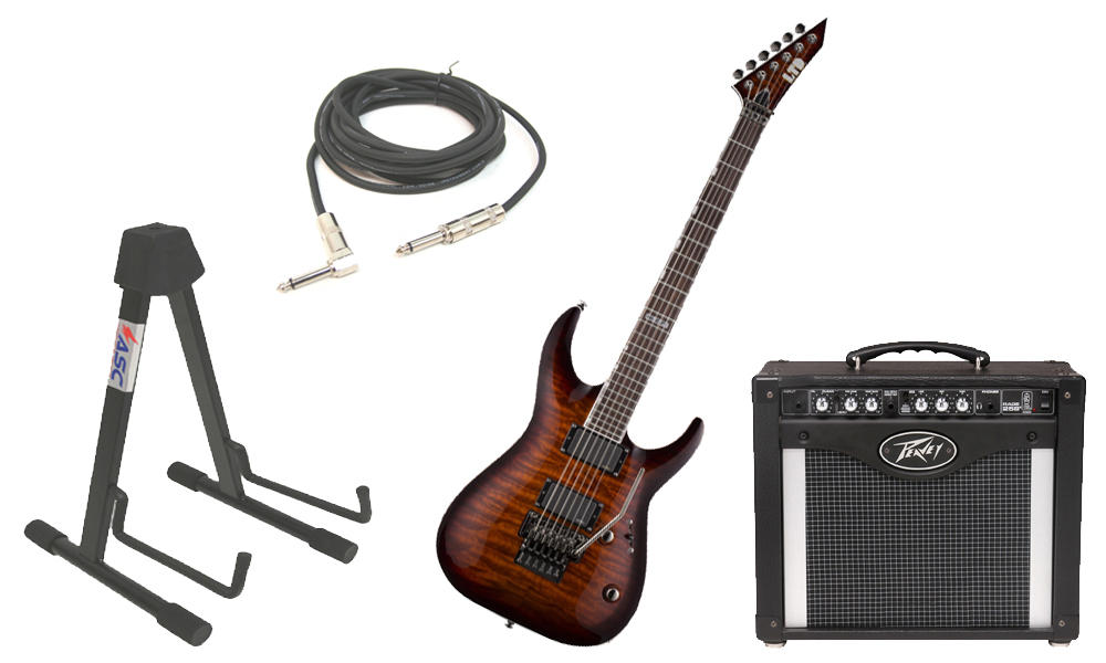 """ESP LTD MH Series MH-350FR Quilted Maple 6 String Floyd Rose Bridge Dark Brown Sunburst Electric Guitar with Peavey Rage 258 TransTube Amp, 1/4"""" Cable & Stand"""