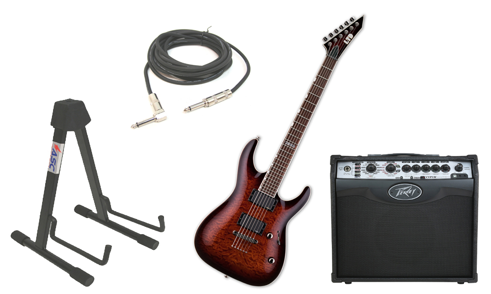 "ESP LTD MH Series MH-350NT Quilted Maple 6 String EMG Pickups Dark Brown Sunburst Electric Guitar with Peavey VIP 1 Modeling Amp, 1/4"" Cable & Stand"