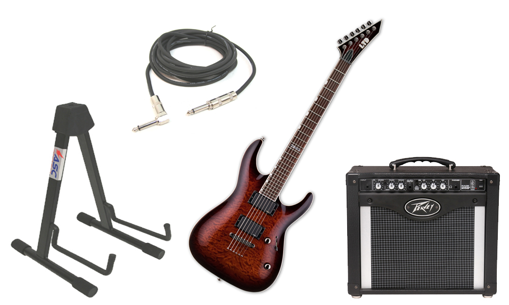 """ESP LTD MH Series MH-350NT Quilted Maple 6 String EMG Pickups Dark Brown Sunburst Electric Guitar with Peavey Rage 258 TransTube Amp, 1/4"""" Cable & Stand"""