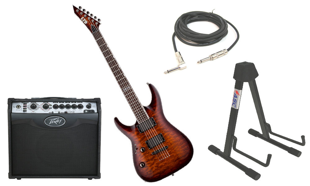 """ESP LTD MH Series MH-350NT Quilted Maple 6 String EMG Pickups Dark Brown Sunburst Electric Guitar (Left Hand) with Peavey VIP 1 Modeling Amp, 1/4"""" Cable & Stand"""