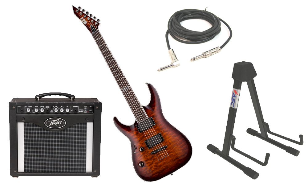 "ESP LTD MH Series MH-350NT Quilted Maple 6 String EMG Pickups Dark Brown Sunburst Electric Guitar (Left Hand) with Peavey Rage 258 TransTube Amp, 1/4"" Cable & Stand"