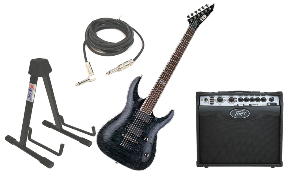"""ESP LTD MH Series MH-350NT Quilted Maple 6 String EMG Pickups See Through Black Electric Guitar with Peavey VIP 1 Modeling Amp, 1/4"""" Cable & Stand"""