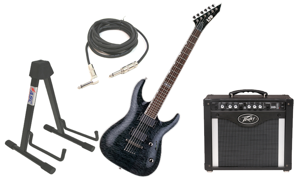 "ESP LTD MH Series MH-350NT Quilted Maple 6 String EMG Pickups See Through Black Electric Guitar with Peavey Rage 258 TransTube Amp, 1/4"" Cable & Stand"