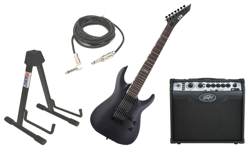 """ESP LTD MH Series MH-337 Mahogany Body 7 String Black Satin Electric Guitar with Peavey VIP 1 Modeling Amp, 1/4"""" Cable & Stand"""