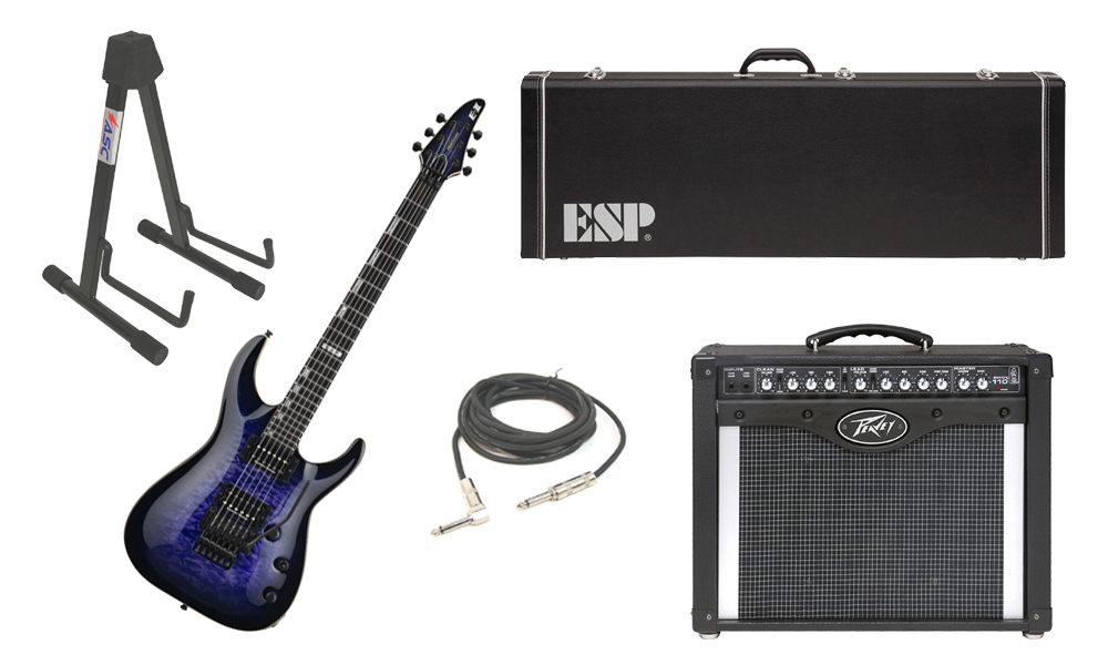 "ESP E-II Horizon Quilted Maple Top 6 String Reindeer Blue Electric Guitar with Peavey Envoy 110 Tube Amp, 1/4"" Cable & Stand"