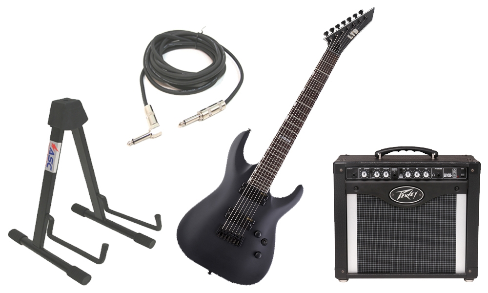 "ESP LTD MH Series MH-337 Mahogany Body 7 String Black Satin Electric Guitar with Peavey Rage 258 TransTube Amp, 1/4"" Cable & Stand"