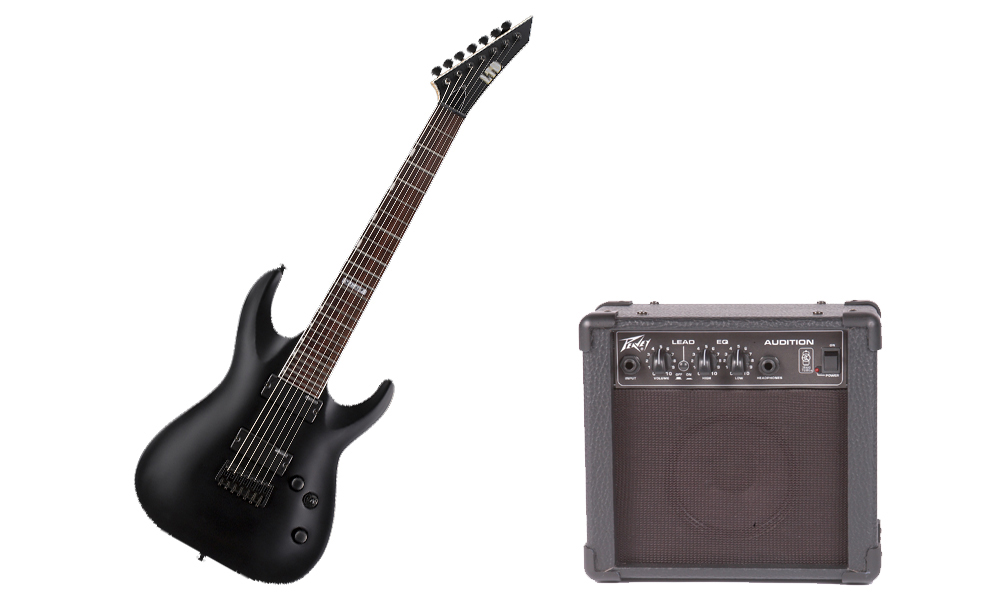 ESP LTD MH Series MH-207 Basswood Body 7 String Black Satin Electric Guitar & Peavey Audition Practice Amp