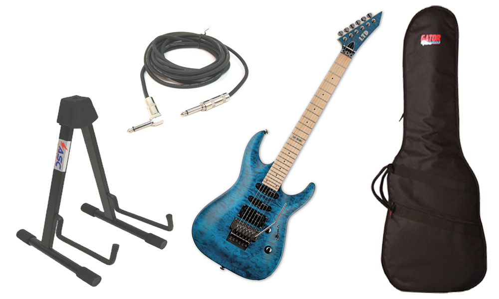 """ESP LTD MH Series MH-103 Quilted Maple 6 String See Through Blue Electric Guitar with Travel Gig Bag, Stand & 1/4"""" Cable"""
