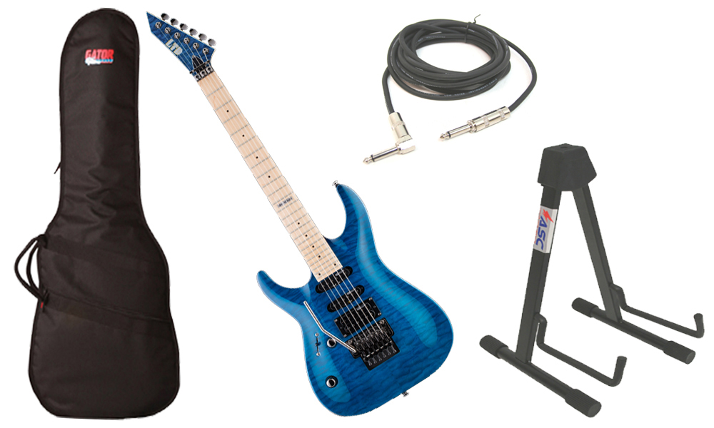 """ESP LTD MH Series MH-103 Quilted Maple 6 String See Through Blue Electric Guitar (Left Hand) with Travel Gig Bag, Stand & 1/4"""" Cable"""