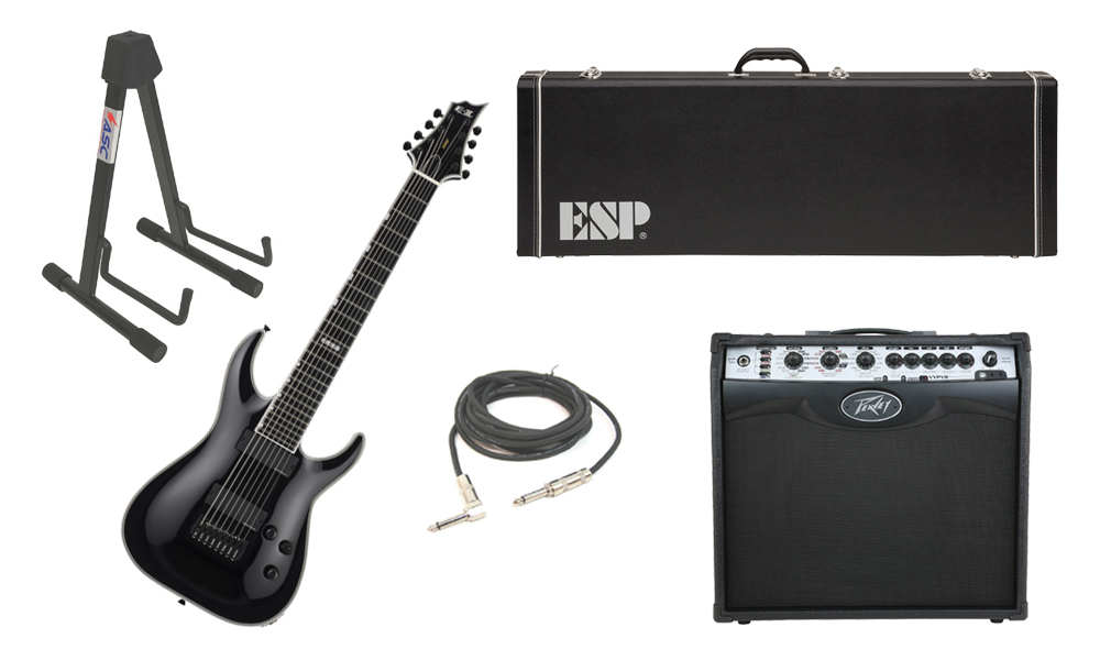 """ESP E-II Horizon NT-8B Maple Top 8 String Black Electric Guitar with Peavey VIP 2 Modeling Amp, 1/4"""" Cable & Stand"""