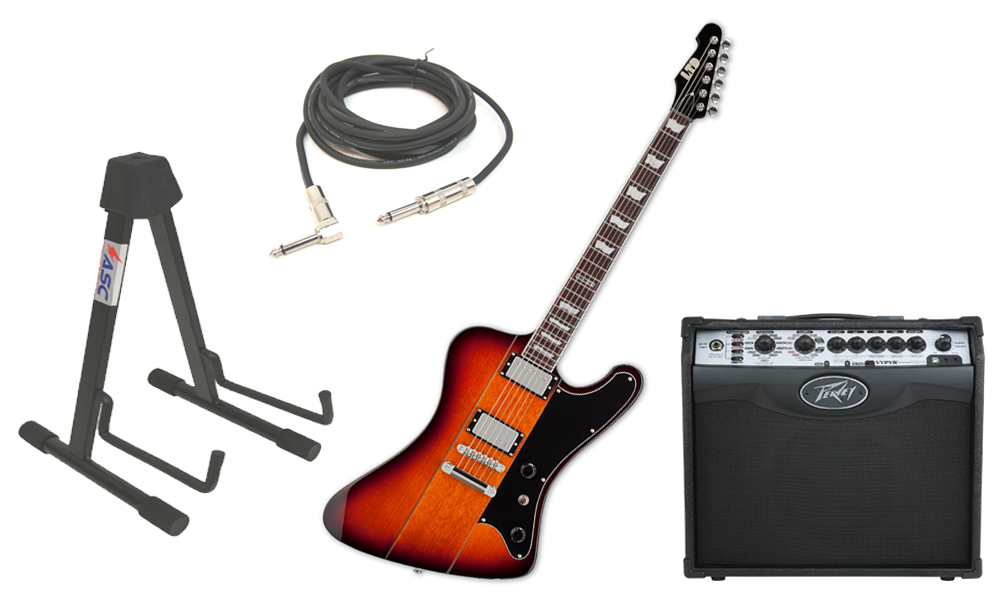 "ESP LTD Phoenix Series 401 Alder Body 6 String 2 Tone Burst Electric Guitar with Peavey VIP 1 Modeling Amp, 1/4"" Cable & Stand"
