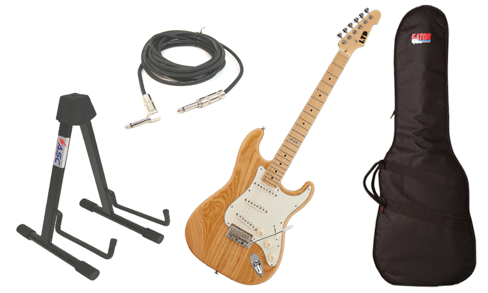 """ESP LTD ST Series ST-213 Swamp Ash Body 6 String Maple Fingerboard Natural Gloss Electric Guitar with Travel Gig Bag, Stand & 1/4"""" Cable"""