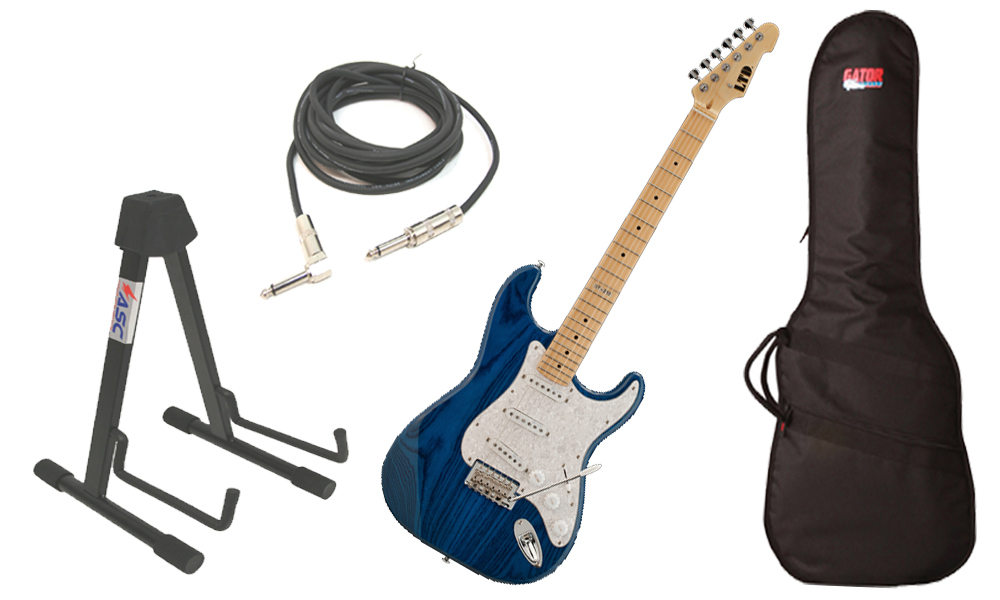 """ESP LTD ST Series ST-213 Swamp Ash Body 6 String Maple Fingerboard See Through Blue Electric Guitar with Travel Gig Bag, Stand & 1/4"""" Cable"""