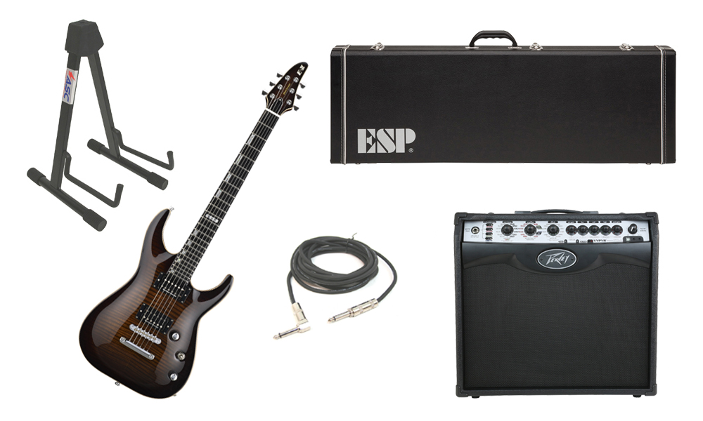 """ESP E-II Horizon Flamed Maple Top 6 String Dark Brown Sunburst Electric Guitar with Peavey VIP 2 Modeling Amp, 1/4"""" Cable & Stand"""