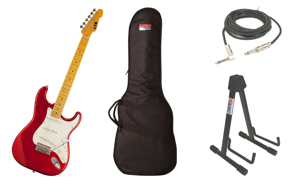 "ESP LTD ST Series ST-213 Alder Body 6 String Maple Fingerboard Candy Apple Red Electric Guitar with Travel Gig Bag, Stand & 1/4"" Cable"