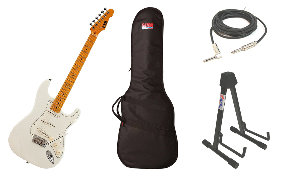 "ESP LTD ST Series ST-213 Alder Body 6 String Maple Fingerboard Olympic White Electric Guitar with Travel Gig Bag, Stand & 1/4"" Cable"