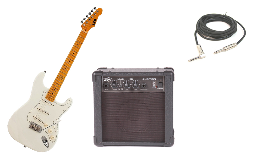 """ESP LTD ST Series ST-213 Alder Body 6 String Maple Fingerboard Olympic White Electric Guitar with Peavey Audition Practice Amp & 1/4"""" Cable"""