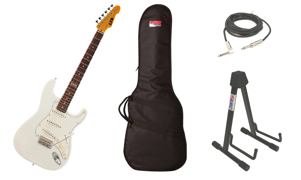 """ESP LTD ST Series ST-213 Alder Body 6 String Rosewood Fingerboard Olympic White Electric Guitar with Travel Gig Bag, Stand & 1/4"""" Cable"""